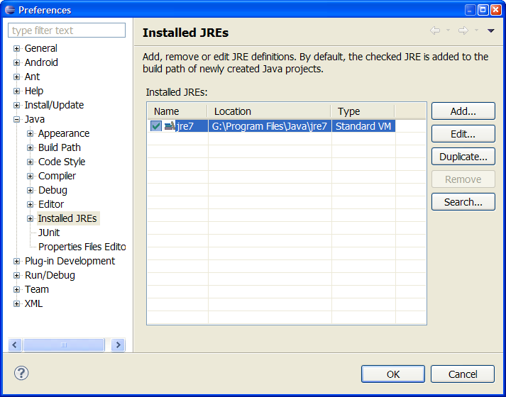 eclipse instaled jres path dialog