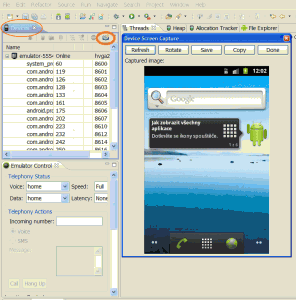 Android emlator screen capture by eclipse