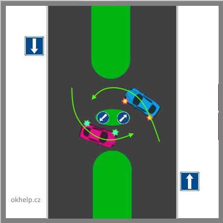 vyhybani-se-vlevo-jednosmerna-silnice-odboceni-na-jinou-jednosmernou-silnici-otoceni-s-ostruvkem-a-prikazovou-znackou.png